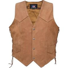 AL2217 Men's Brown Suede leather Side Laced Vest