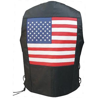 AL2218 Men's USA Flag Leather Vest
