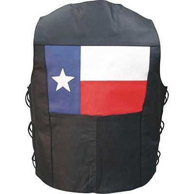 AL2219 Men's Texas Flag Leather Vest