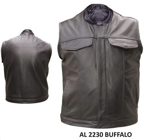 Gun Pocket Men's Club Panel Biker Leather Vest