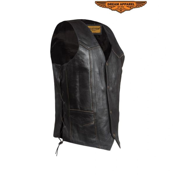 Leather Eagle Retro Black Motorcycle Vest