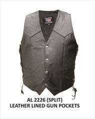 Gun Pocket Men's Single panel back Biker Vest.