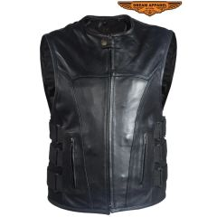 Gun Pocket Bullet style leather motorcycle vest