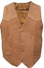Men's Basic Plain Suede leather vest in Brown