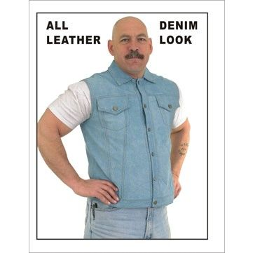 Denim Look All LEATHER Motorcycle Vest