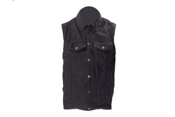 Gun Pocket Black Denim Vest Snap Down Collar