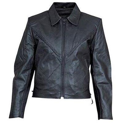 AL2102-Womens Braided Leather Jacket