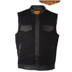 Men's Black Denim Biker Vest With Leather Trim