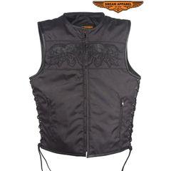 Mens Black Textile Motorcycle Vest With Reflective Skulls
