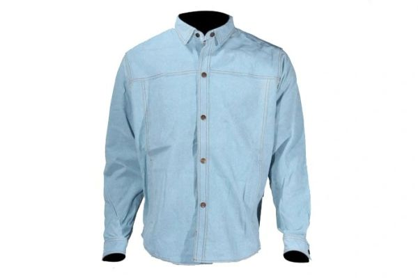 Mens Leather Shirt With Denim Look