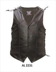 Men's soft shoulder lace Motorcycle Leather Vest