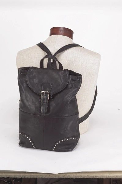 Women Black Backpack With Fold Over Flap