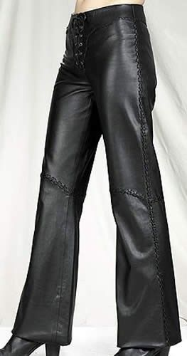 Womens Hip Hugger Leather Pants