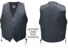 Men's Vest Single panel back leather lined gun pockets