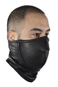 Black Leather Biker Face Mask