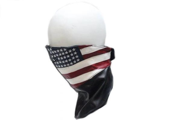 Leather Face Mask With USA Flag