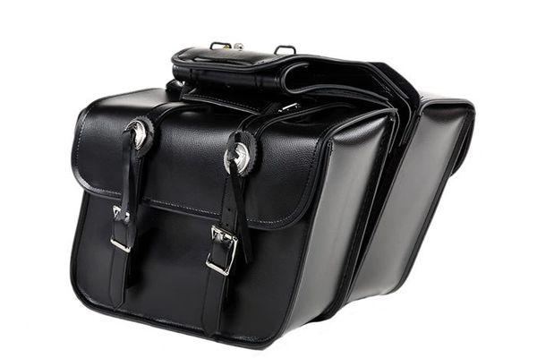 Medium Slanted Leather Motorcycle Saddle Bags