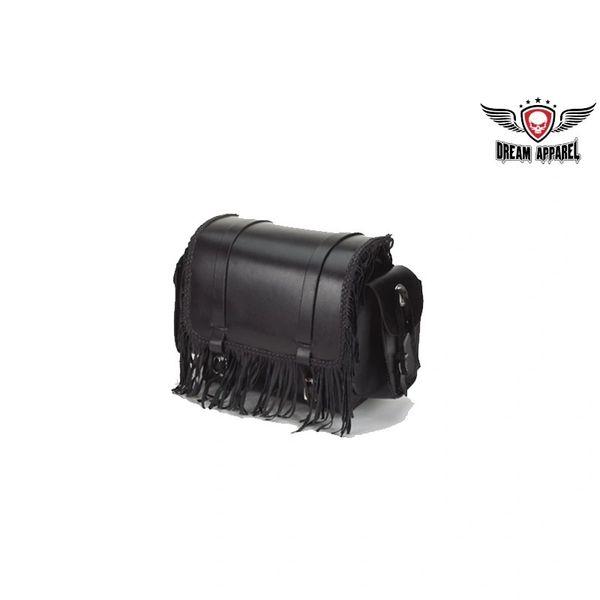 Motorcycle Sissy Bar Bag With Braid & Fringe