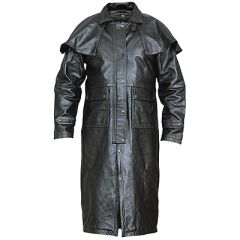 AL2600-Black Buffalo Leather Duster