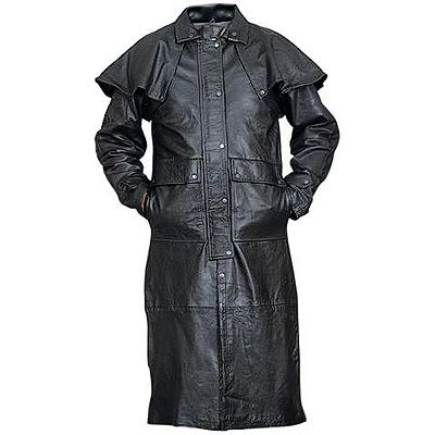 AL2601-Black Lambskin Leather Duster