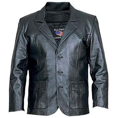 AL2650-Black Leather Blazer