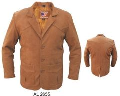 AL2655 Brown Buffalo Leather Blazer