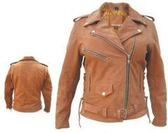 Ladies Brown Motorcycle Jacket
