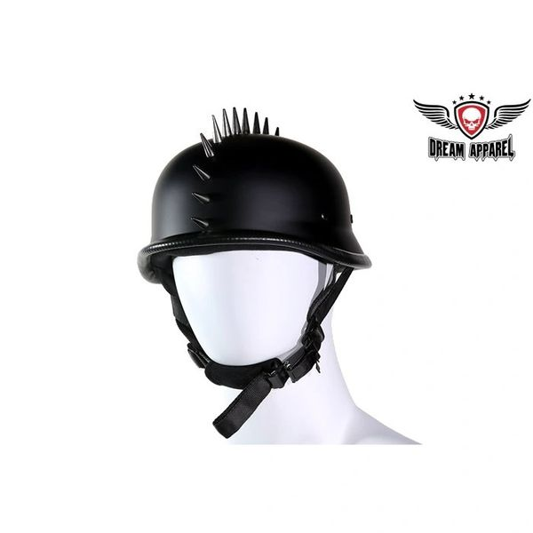 German Flat Black Motorcycle Helmet With Spikes