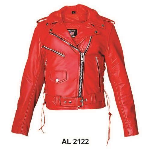 AL 2122 Ladies Red Motorcycle Jacket