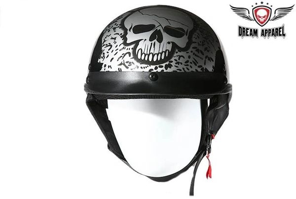 Boneyard Silver DOT Approved Motorcycle Helmet