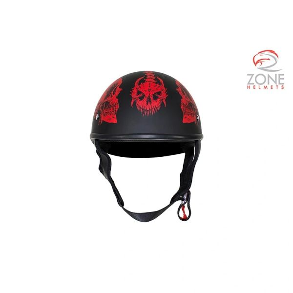 DOT Biker Helmet with Red Horned Skeletons