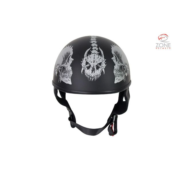 DOT Motorcycle Helmet with Grey Horned Skeletons