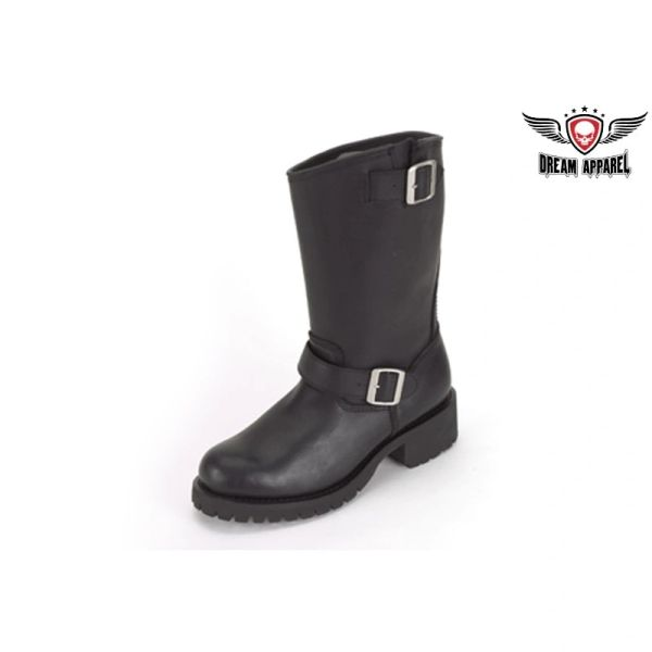 Womens Biker Boots With Double Buckle