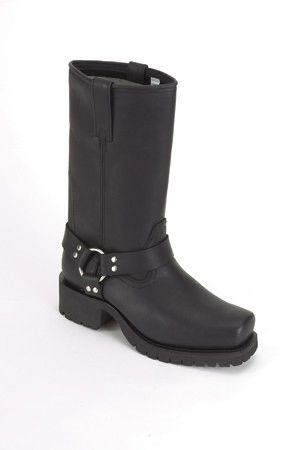 Womens Biker Boots With Strap & Ring At Ankle