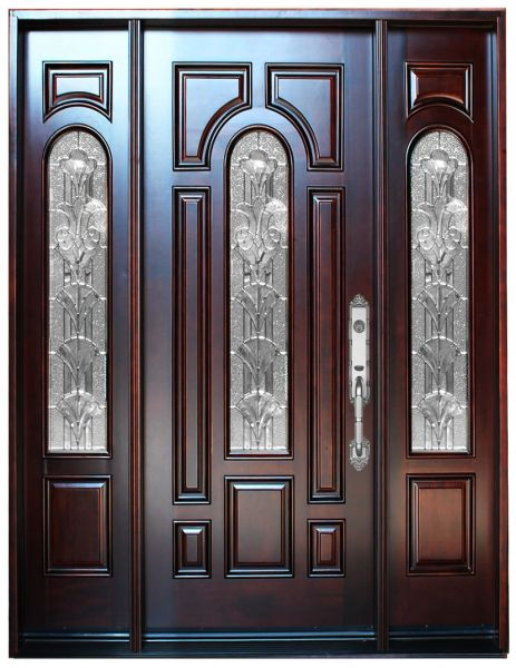timeless design 8a49d 0f5d8 Natural Mahogany Prefinished Solid Wood Prehung Front Door #M280A-1d2s-80