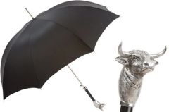 Pasotti Luxury Bull Umbrella - Single Layer Black Canopy
