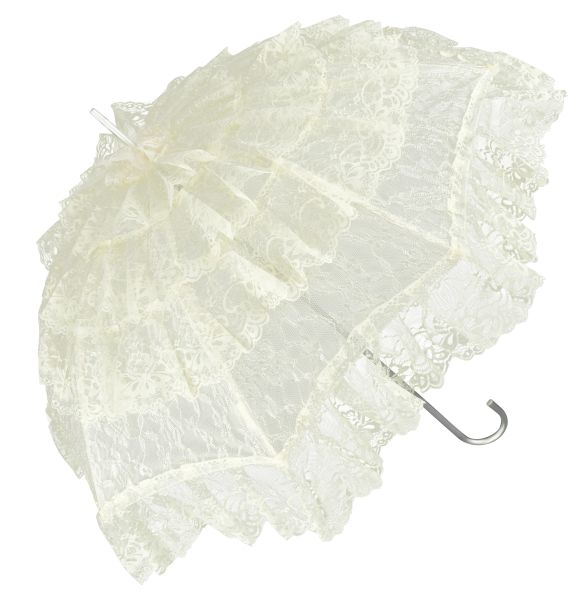 French Lace Sun Umbrella - Ivory Lace - Aluminum Frame And Shaft -Semi Waterproof - Full Size 36""