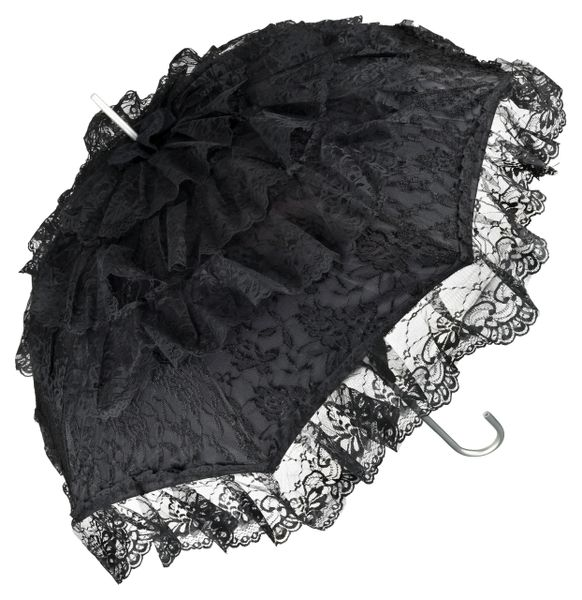 French Lace Sun Umbrella - Black Lace - Aluminum Frame And Shaft - Semi Waterproof - Full Size 36""