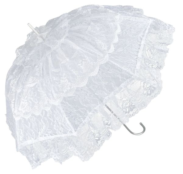 French Lace Sun Umbrella - White Lace - All Aluminum Frame And Shaft - Semi Waterproof - Full Size 36""