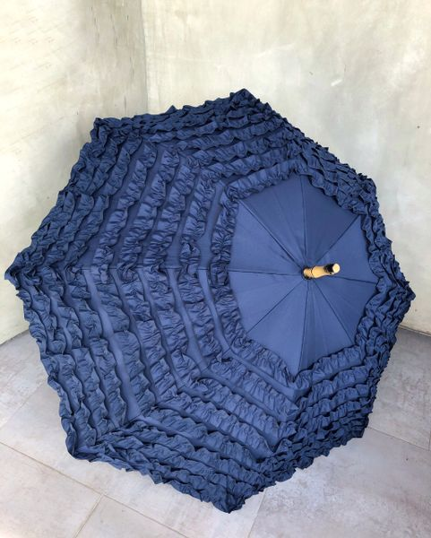 Full frill Navy Umbrella - Faux Bamboo handle