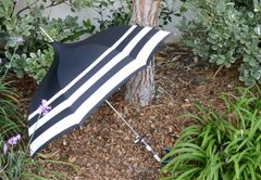 Audrey Style Black Cream Stripes - European Dome Shaped Umbrella/Parasol