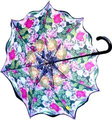 Stick Style Umbrella/Parasol - Double layer - Floral Medley Pattern Inside