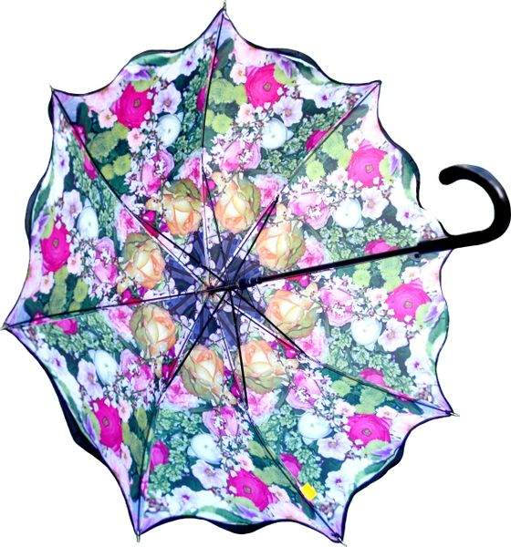 Stick Style Umbrella/Parasol - Double layer - Floral Medley Design Inside