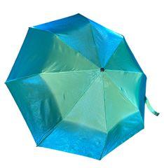 COMPACT IRIDESCENT UMBRELLA -WATERPROOF BRIGHT GREEN/BLUE