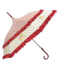French Burgundy Rose Design Double Frill Umbrella/Parasol - Waterproof
