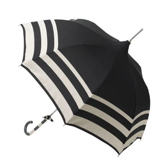 Audrey Umbrella - European Dome Shaped - Black And Cream Stripes - Waterproof