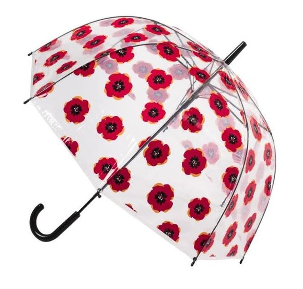 Clear Poppy Flowers PVC Umbrella 32""