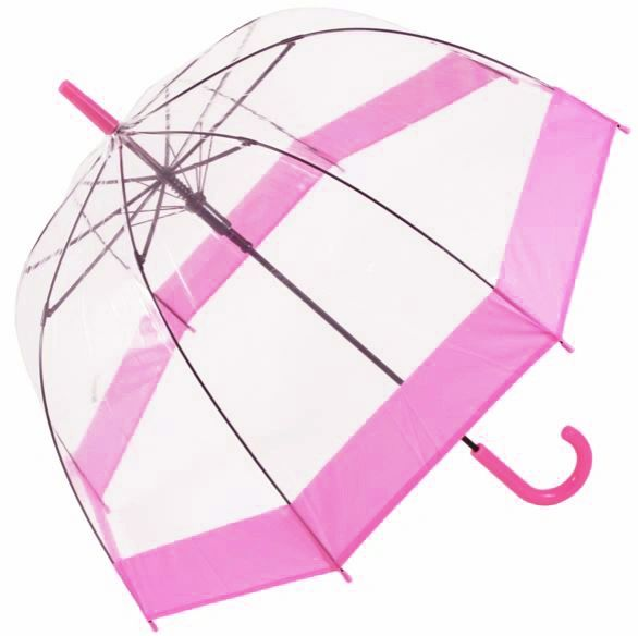 "Clear PVC Umbrella 32""- Pink Trim"