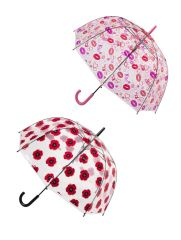 "Clear Umbrellas - Poppy Flowers And Kisses 32"" - Set of 2 - 10% Off + Free Shipping"