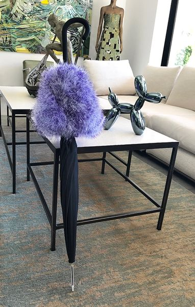 Unique Sun Umbrella With Heavy Weight Boa Trim - Purple/White Down Feathers - Beautiful Home Decor accessory